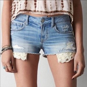 American Eagle Distressed Shortie Shorts Sz 4